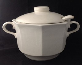 Vintage McCoy Large White Octagonal Soup Tureen Lid Ladle USA Pottery 226 - $29.65