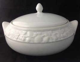 All White Covered Casserole Serving Dish with Embossed Fruit Design - $23.95