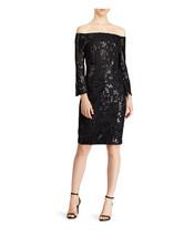 $250 Lauren Ralph Lauren Sequined Off-the-shoulder Dress  Black Sequin 4 - $179.18