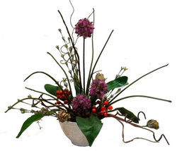 Floral Arrangement Home Decor Allium & Red Berry Handcrafted  - $29.00