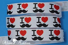 """5 yards 7/8"""" I Love Mustache White Grosgrain Ribbon  - $5.00"""