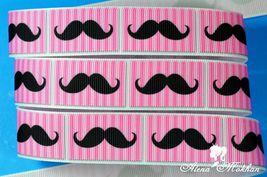 "5 yards 7/8"" Mustache Pink Stripes Printed Grosgrain Ribbon  - $5.00"