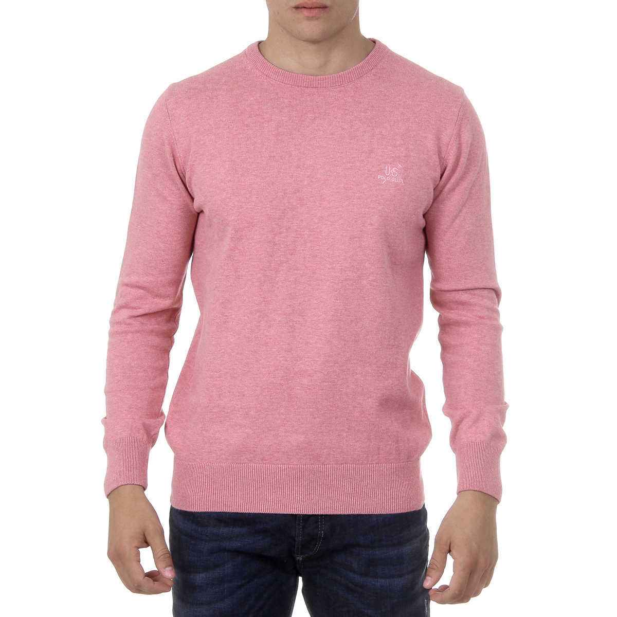 Primary image for Ufford & Suffolk Polo Club Mens Sweater Long Sleeves Round Neck PULLRUS100 PINK