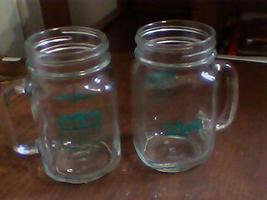 (2) collectable bar jars,glasses with handles leaded fuel mexico neat jars - $16.99