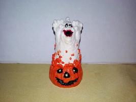 Vintage Ghost in Pumpkin Halloween Decoration Ornament Handmade Hand Pai... - $16.00