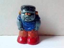 Vintage Miniature Halloween Frankenstein Gray Monster with Blue Shirt Ha... - $15.00