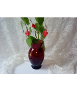 Vintage Ruby Red Glass Vase Anchor Hocking Depression Era True Red Glass... - $28.00