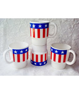 Vintage Stars & Stripes USA American Flag Ceramic Coffee Mugs Set 4 Stac... - $58.00