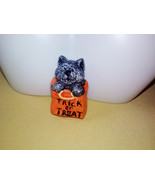 Vintage Cute Kitty Cat Halloween Trick or Treat Bag OOAK Handmade Hand Painted P - $15.00