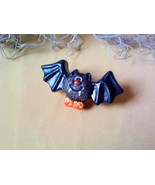 Vintage Black Vampire Bat Cute Halloween Pin Brooch OOAK Handmade Hand Painted - $17.00