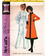 Vintage 1970 McCall's Sewing Pattern 2676 Misses' Junior Coat In Two Ver... - $24.95