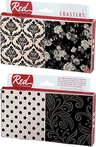 Black And White Multi Dot Floral Damask 4 Piece Absorbent Ceramic Coaster Set
