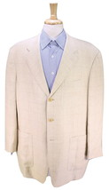 * PAL ZILERI * Beige Windowpane 100% Linen 3-Btn Patch Pocket Sportcoat 46R - $52.50