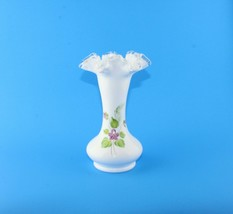 "Fenton ""Violets In The Snow"" Silver Crest 8 1/4"" Vase - $34.65"