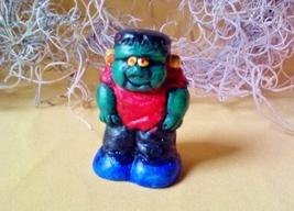 Vintage Miniature Halloween Frankenstein Green Monster with Red Shirt Ha... - $15.00