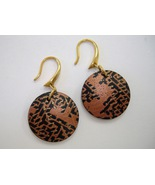 Copper Round Earrings Handcrafted Pierced Unique Artisan Dangle Clay Circle - $38.00