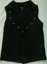 New Women's Black Nine West Vest Size M Oversized Gold-Tone Grommet Lapel - $9.50