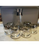 SIX Vintage Mid Century Roly Poly Silver Rim High Ball Glasses + Beaker ... - $52.25