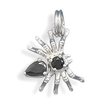 Sterling Silver Movable Spider Charm with Black CZs - $9.95