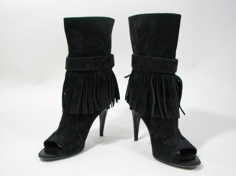 ee71569422f7 Louis Vuitton Black Suede Fringed Booties and 19 similar items. 57