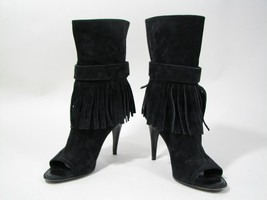 Louis Vuitton Black Suede Fringed Booties Ankle Boots Open Toe Heels Sz 7 - $342.99