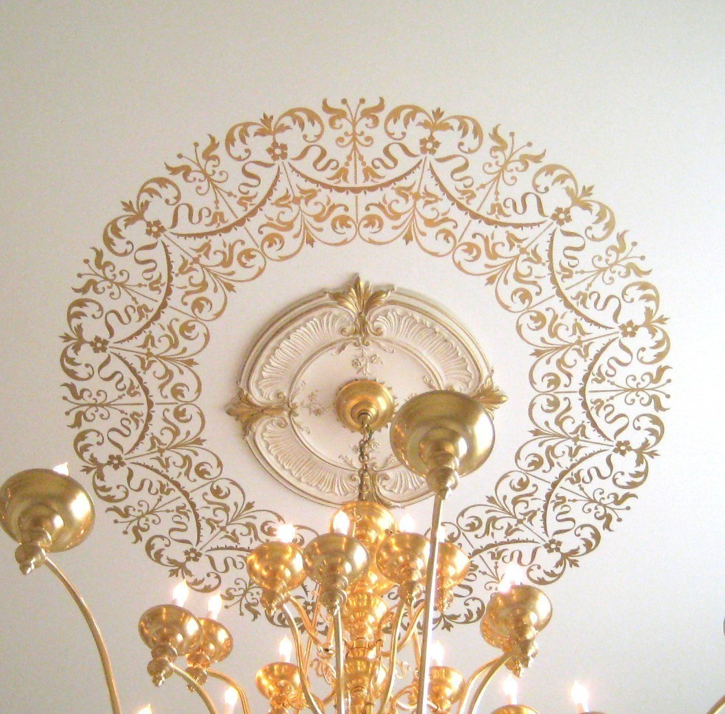 Decorative stencil georgian ceiling medallion diy home for Georgian home decor