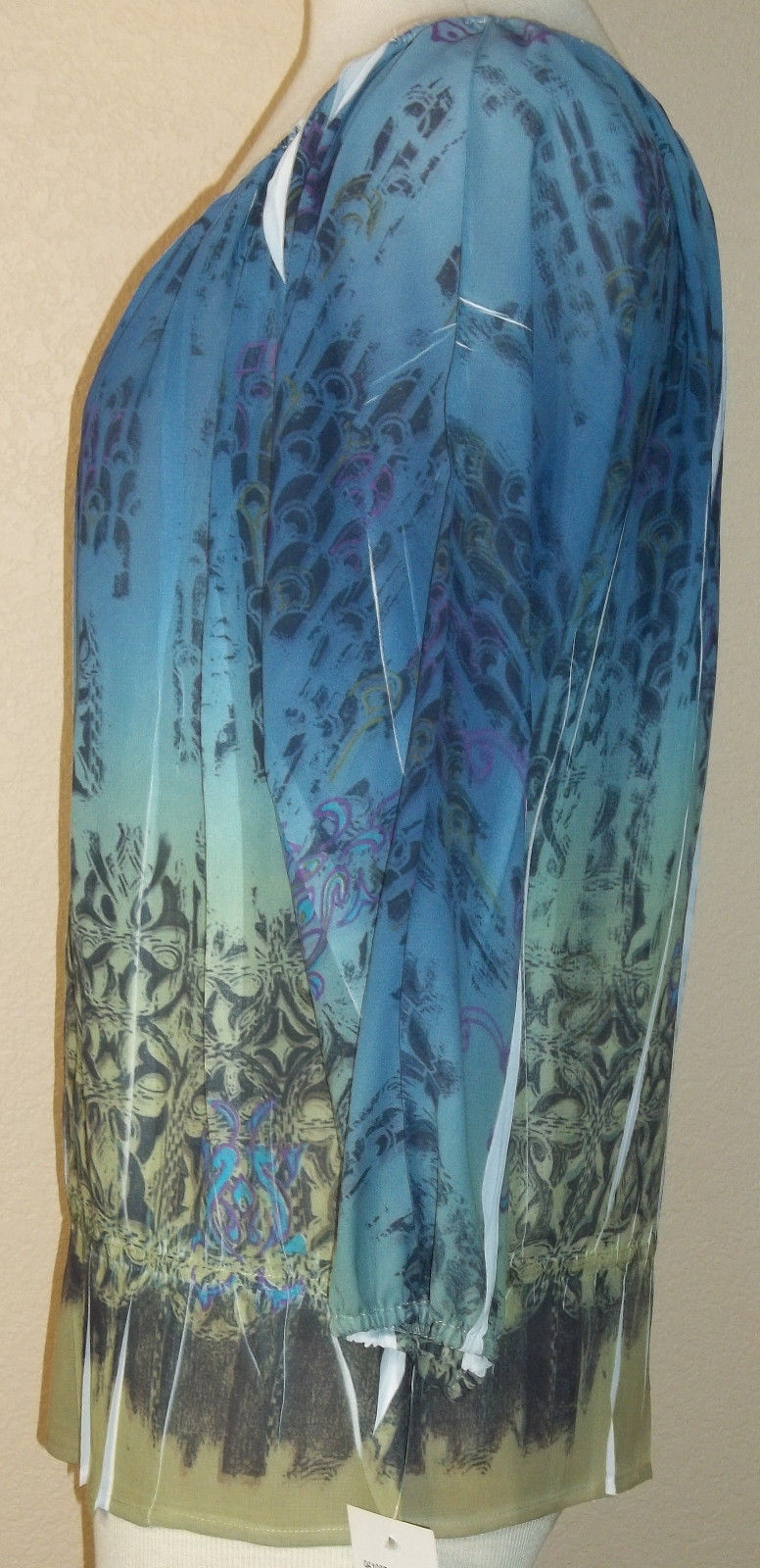 NWT LUXE PETITE absract blue sheer polyester doleman tunic blouse PL (T21X1A8G)