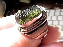 Natural Czech Moldavite 925 Silver Ring 8.5 bold INDIAN ARTISANAL HANDMA... - £36.76 GBP