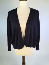 Talbots Womens Sweater 3X 26W Navy Blue Cardigan Open Front Long Sleeves... - $22.19