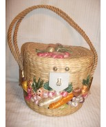 Vtg Philippines CHIC Pillbox Straw Round Tote/Purse/Handbag RAFFIA Flowers - $49.99