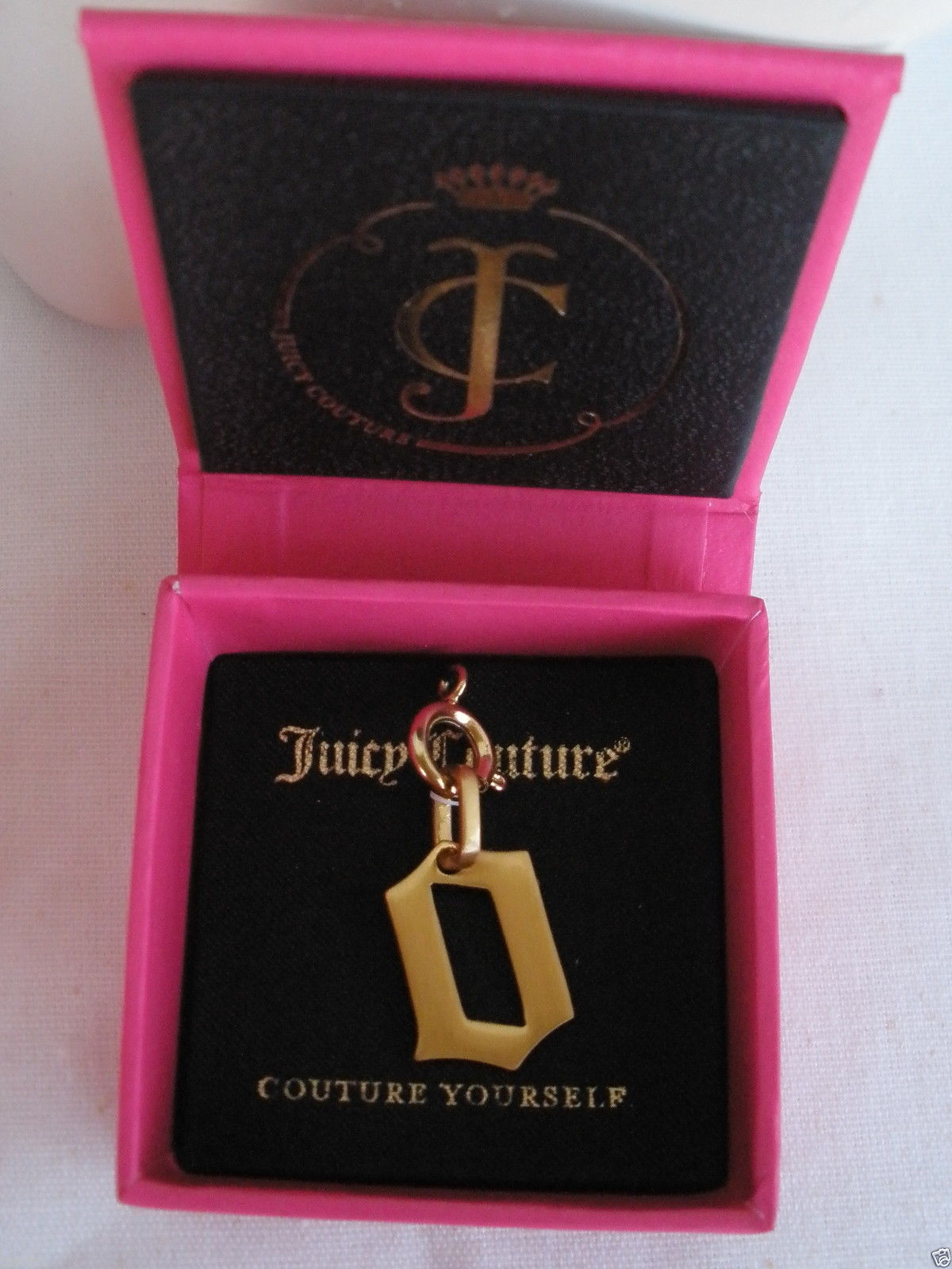 "NEW NWT $32 Juicy Couture Couture Yourself ""O"" Charm Brushed Gold Tone"