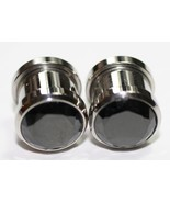 PAIR BLACK Gem Screw plugs steel tunnel 0g CHOOSE GAUGE - $12.99