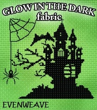 FABRIC CUT Glow-In-The-Dark 28ct Evenweave 36x12 for Boo From The Crew  - $24.30