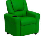 Flash Contemporary Green Vinyl Kids Recliner with Cup Holder and Headrest