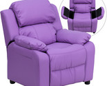 Flash Deluxe Padded Contemporary Lavender Vinyl Kids Recliner with Storage Arms