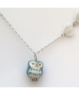 Silver Cat Eye Porcelain Owl Necklace Handmade ... - $14.99