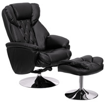 Flash Transitional Black Leather Recliner / Ottoman, Chrome Base BT-7807... - $343.79
