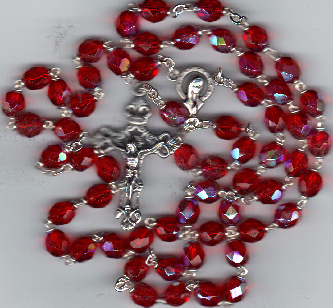 Rosary   red 7mm lock inked aurora glass bead mb80 r