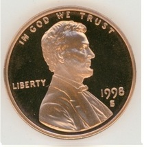 1998-S DCAM Proof Lincoln Penny PF65 #634 - $8.90