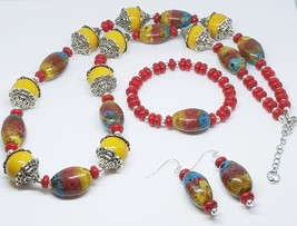 Ceramic Oval Multi Stripe Beaded Trio Set - $35.00