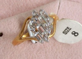10pcs CZ diamond simulant 18k GEP engagement party cocktail lady's ring sz 8 new - $19.95