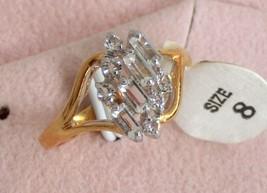 10pcs CZ diamond simulant 18k GEP engagement party cocktail lady's ring ... - $19.95