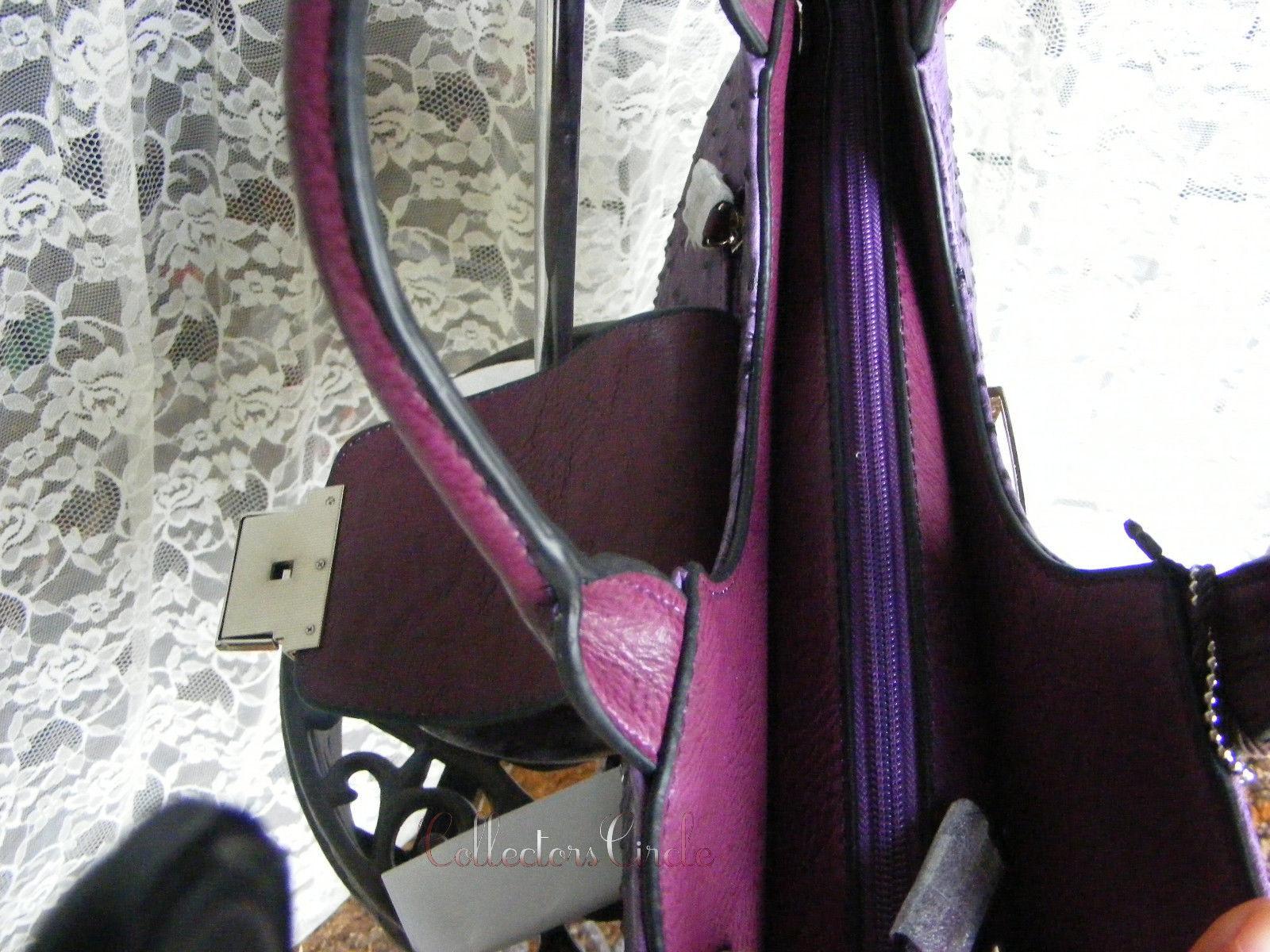 Dasein Ostrich Croco Fusion Texture Buckled Satchel Handbag Purple