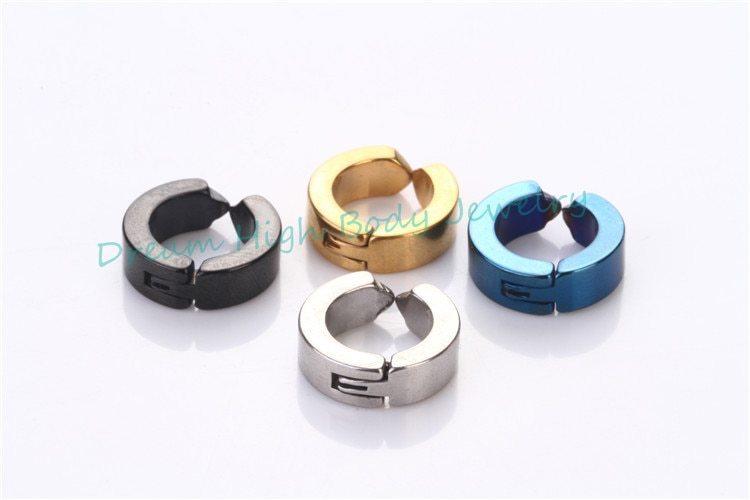 Faves simple fake ear pierce stainless steel hoop huggie punk stud earring black 4mm wide clip