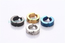 faves simple Fake Ear Pierce Stainless Steel Hoop Huggie Punk Stud Earri... - $38.90