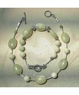 .925 Sterling Silver Lemon Jade Anklet and Bracelet Set - $46.00