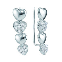 10kt White Gold Womens Round Diamond Heart Climber Earrings 1/2 Cttw - $503.00