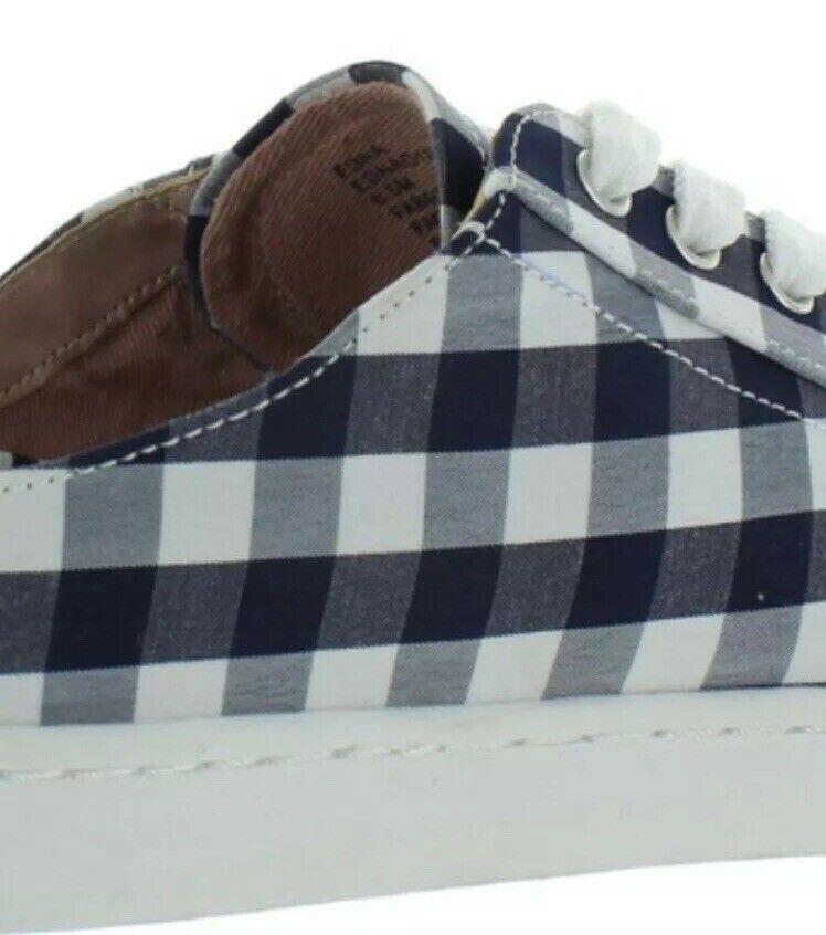 Betsey Johnson Edna Slip On Women's Sneakers Blue Gingham Size 10.5- 11 NIB