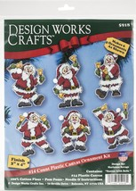 "Design Works Plastic Canvas Ornament Kit 3""X4"" Set Of 6-Santa W/Bells (1... - $14.50"