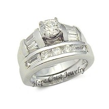 WOMEN'S STERLING SILVER ROUND & BAGUETTE CZ WEDDING RING SET SIZE 5, 10 - $26.54